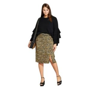 Women's Print Mix Pencil Skirt Yellow Cheetah